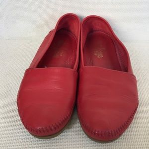 Womens vintage cherry red leather loafers
